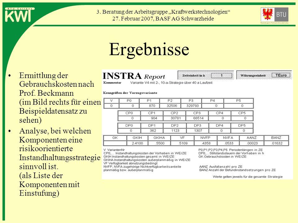 3. Beratung der Arbeitsgruppe Kraftwerkstechnologien 27. Februar 2007, BASF AG Schwarzheide Ergebnisse Ermittlung der Gebrauchskosten nach Prof. Beckm