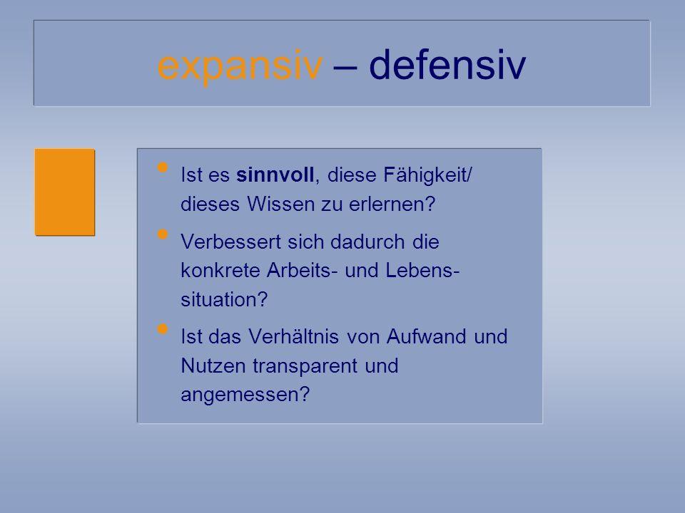 expansiv – defensiv Ist es sinnvoll, diese Fähigkeit/ dieses Wissen zu erlernen.
