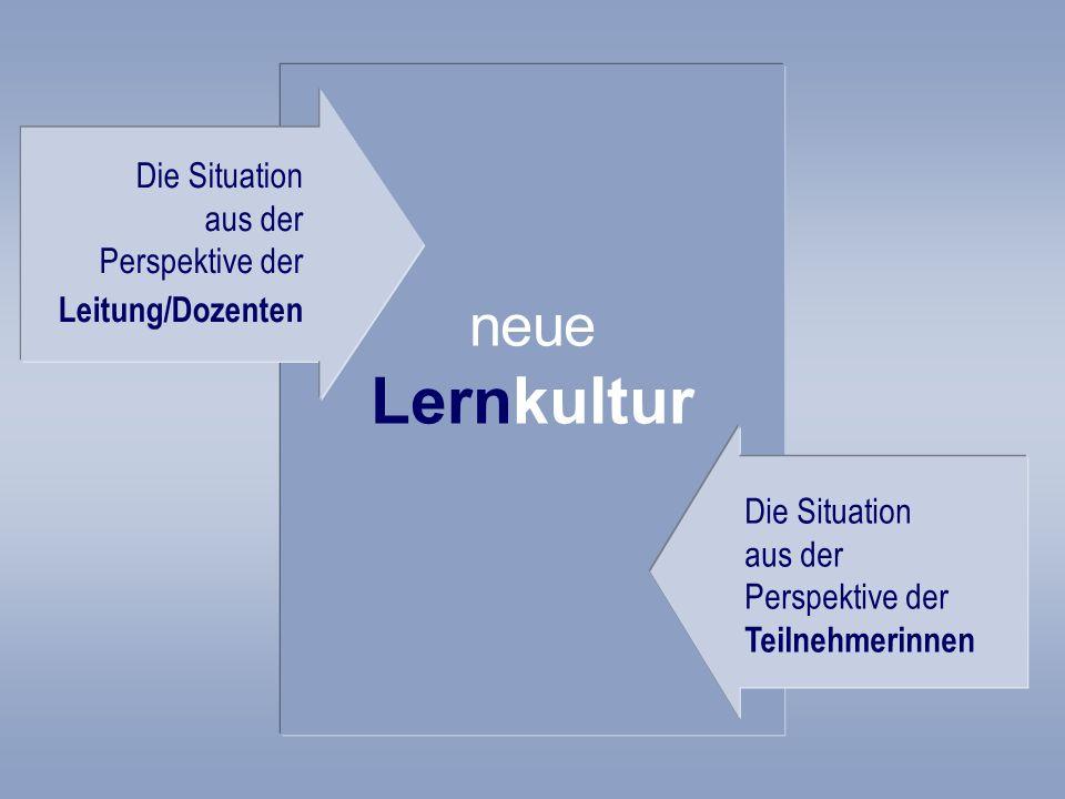 neue Lernkultur Die Situation aus der Perspektive der Leitung/Dozenten Die Situation aus der Perspektive der Teilnehmerinnen