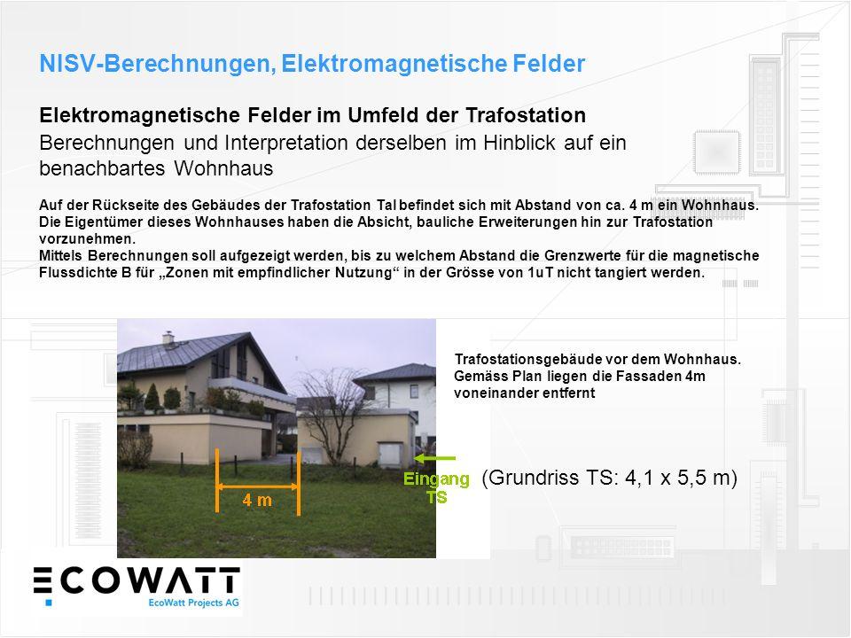 Elektromagnetische Felder im Umfeld der Trafostation NISV-Berechnungen, Elektromagnetische Felder Berechnungen und Interpretation derselben im Hinblick auf ein benachbartes Wohnhaus Auf der Rückseite des Gebäudes der Trafostation Tal befindet sich mit Abstand von ca.