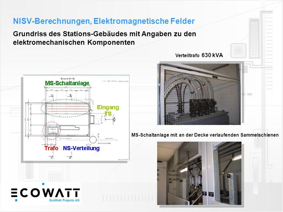 Grundriss des Stations-Gebäudes mit Angaben zu den elektromechanischen Komponenten Verteiltrafo 630 kVA MS-Schaltanlage mit an der Decke verlaufenden Sammelschienen NISV-Berechnungen, Elektromagnetische Felder