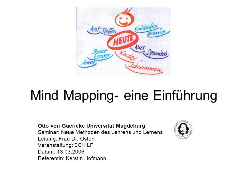 Mind Mapping- eine Einführung Otto von Guericke Universität Magdeburg Seminar: Neue Methoden des Lehrens und Lernens Leitung: Frau Dr. Osten Veranstal