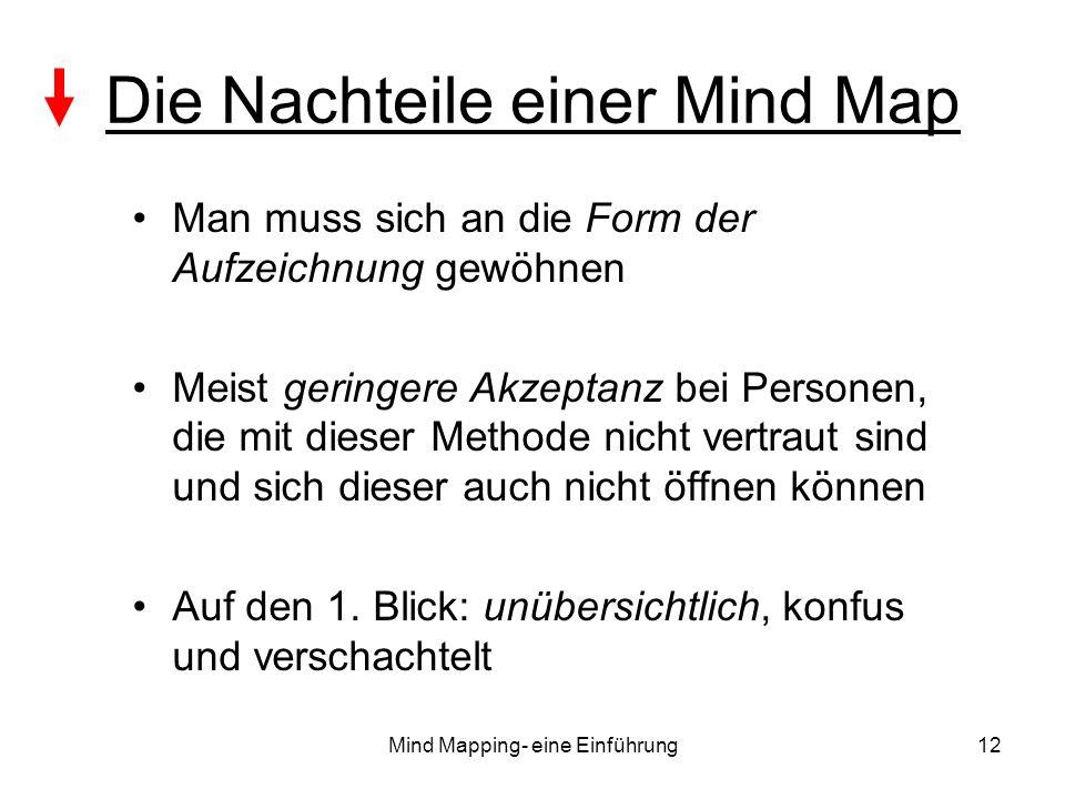 Mind Mapping- eine Einführung12 Die Nachteile einer Mind Map Man muss sich an die Form der Aufzeichnung gewöhnen Meist geringere Akzeptanz bei Persone