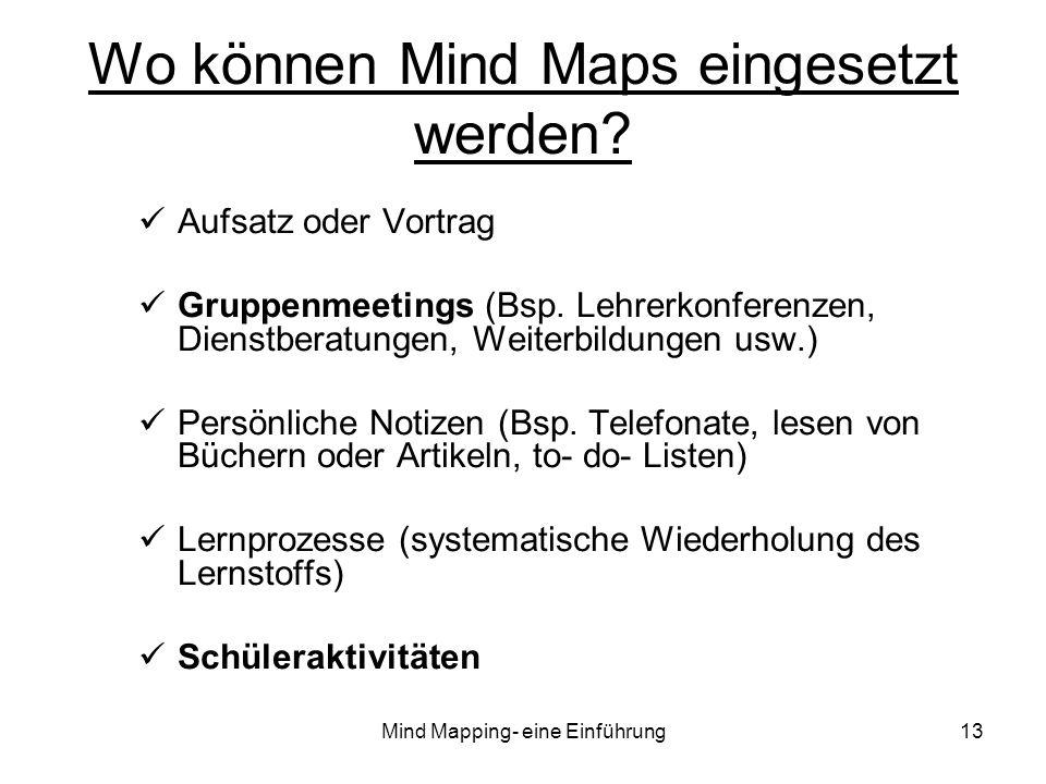 Mind Mapping- eine Einführung13 Wo können Mind Maps eingesetzt werden? Aufsatz oder Vortrag Gruppenmeetings (Bsp. Lehrerkonferenzen, Dienstberatungen,