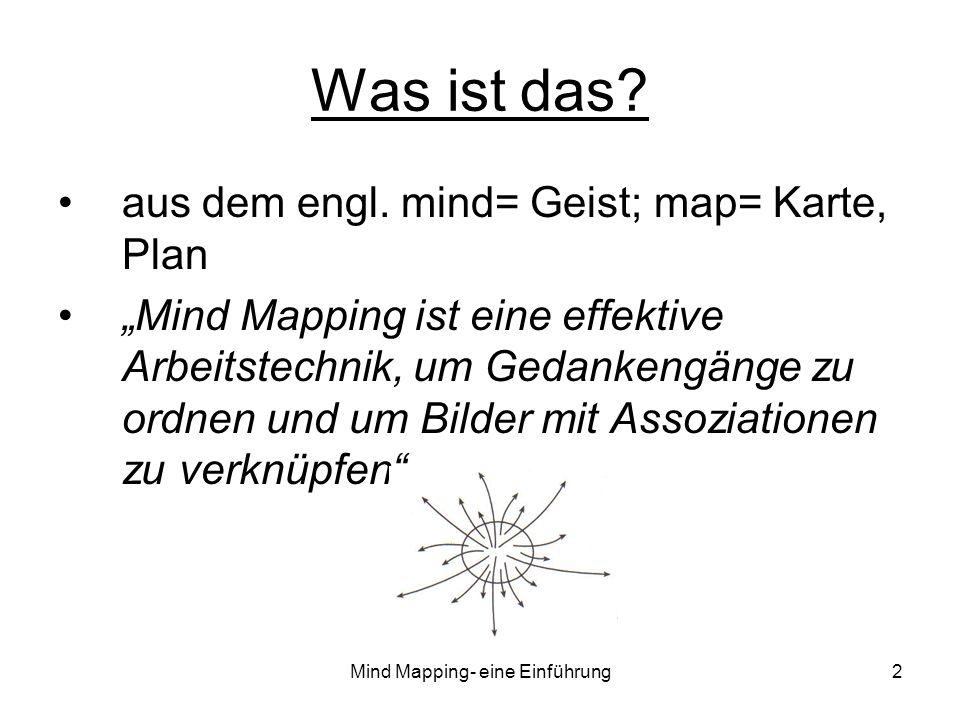Mind Mapping- eine Einführung2 Was ist das? aus dem engl. mind= Geist; map= Karte, Plan Mind Mapping ist eine effektive Arbeitstechnik, um Gedankengän