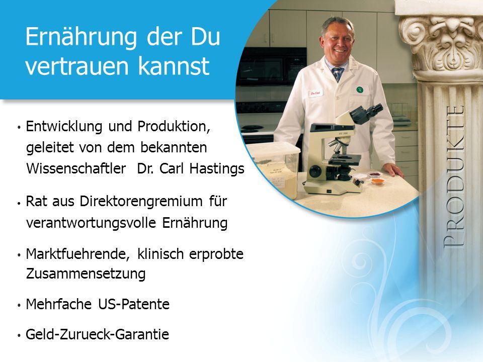 Ernährung der Du vertrauen kannst Entwicklung und Produktion, geleitet von dem bekannten Wissenschaftler Dr. Carl Hastings Rat aus Direktorengremium f