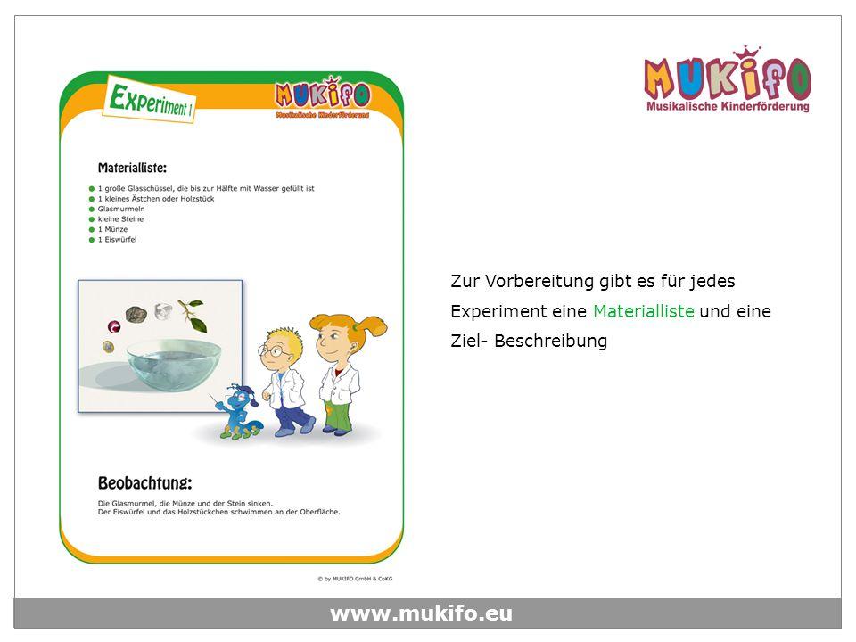 www.mukifo.eu Zur Vorbereitung gibt es für jedes Experiment eine Materialliste und eine Ziel- Beschreibung