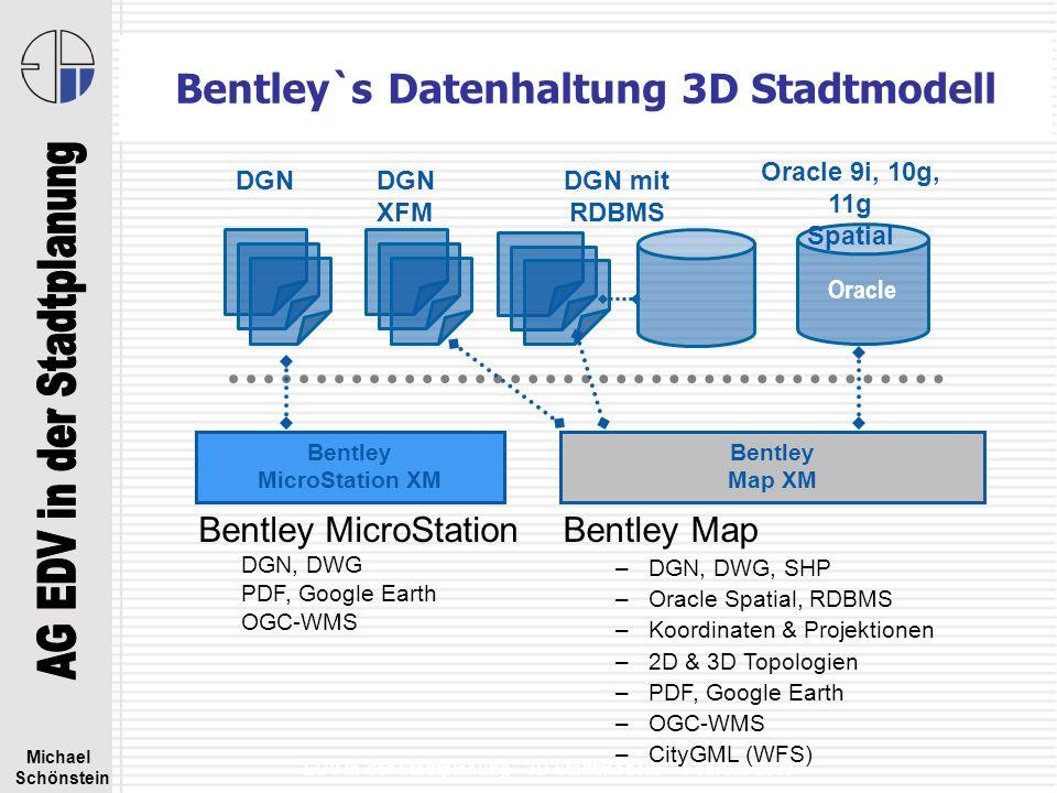 Michael Schönstein EDV in der Stadtplanung - 3D Stadtmodelle – Februar 2008 Bentley CAD/GIS + CityGML + 3D PDF Objektorientierte 3D-Datenmodellierung 3D Ausgabe DWG, KML, KMZ, XML, PDF 3D Bentley Map XM Datenmodell XFM DGN XFM Bentley MicroStation XM Datenmodell DGN DGN Oracle 9i, 10g, 11g optional WMSCityGML WFS/WCS GML SQD XML