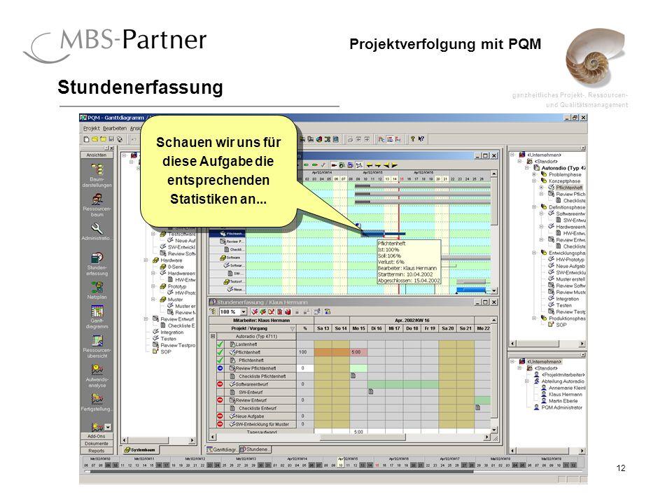 ganzheitliches Projekt-, Ressourcen- und Qualitätsmanagement 12 Projektverfolgung mit PQM Stundenerfassung Schauen wir uns für diese Aufgabe die entsprechenden Statistiken an...