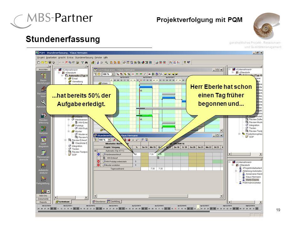ganzheitliches Projekt-, Ressourcen- und Qualitätsmanagement 19 Projektverfolgung mit PQM Stundenerfassung Herr Eberle hat schon einen Tag früher begonnen und...