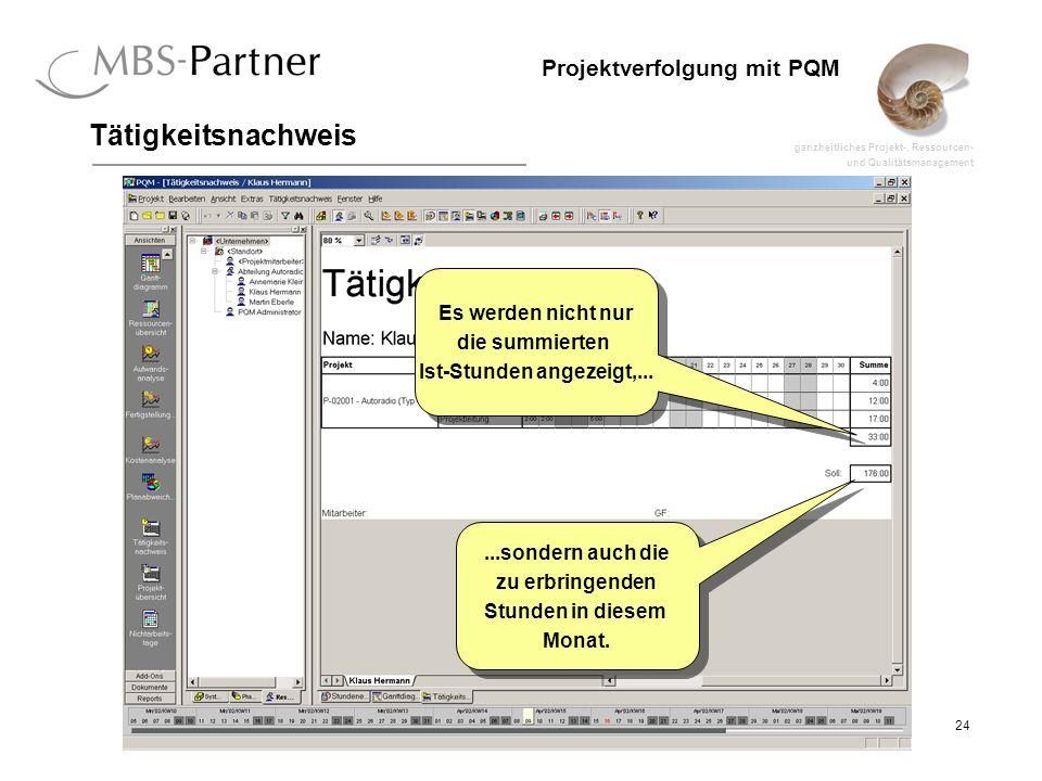 ganzheitliches Projekt-, Ressourcen- und Qualitätsmanagement 24 Projektverfolgung mit PQM Tätigkeitsnachweis Es werden nicht nur die summierten Ist-Stunden angezeigt,...