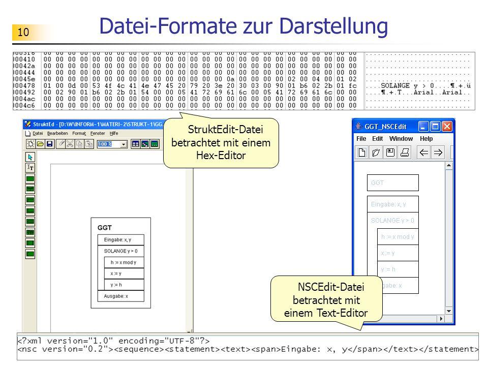 10 Datei-Formate zur Darstellung StruktEdit-Datei betrachtet mit einem Hex-Editor NSCEdit-Datei betrachtet mit einem Text-Editor