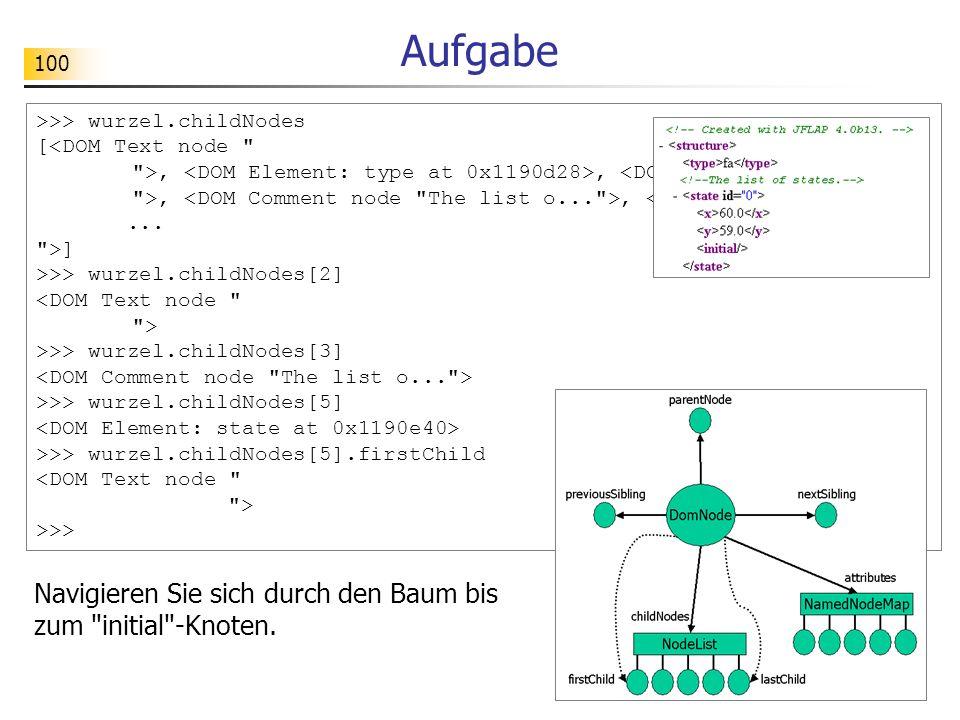 100 >>> wurzel.childNodes [<DOM Text node