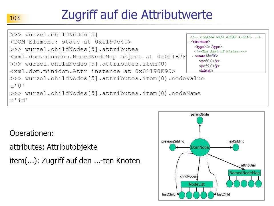 103 >>> wurzel.childNodes[5] >>> wurzel.childNodes[5].attributes >>> wurzel.childNodes[5].attributes.item(0) >>> wurzel.childNodes[5].attributes.item(