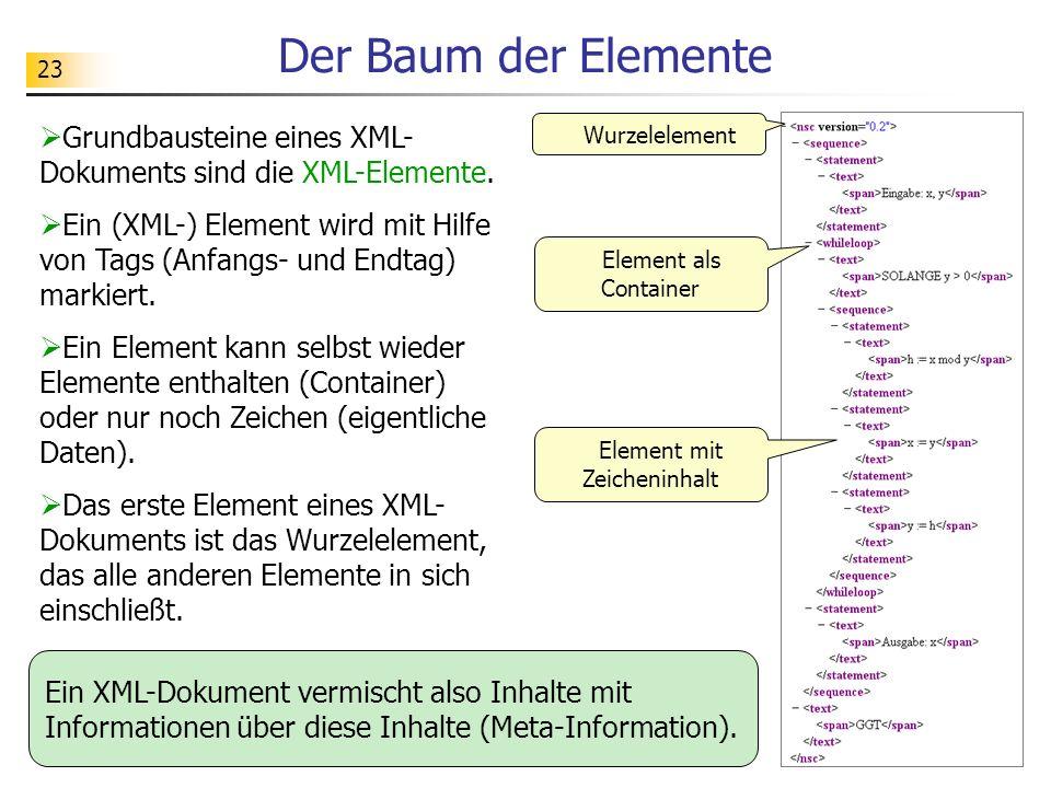 23 Der Baum der Elemente Grundbausteine eines XML- Dokuments sind die XML-Elemente. Ein (XML-) Element wird mit Hilfe von Tags (Anfangs- und Endtag) m