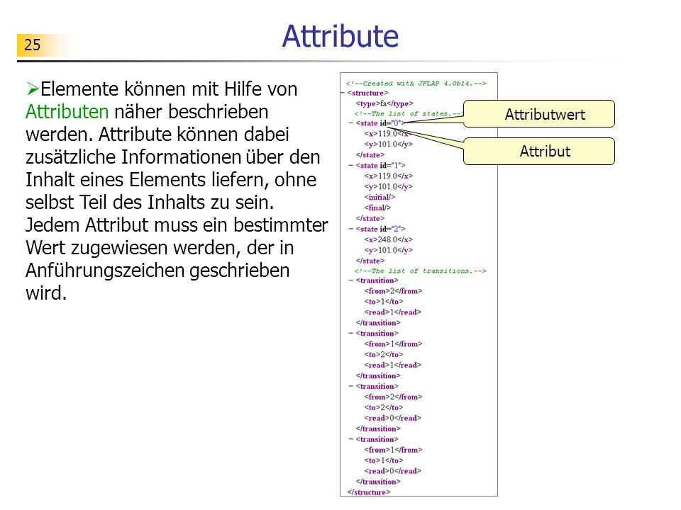 25 Attribute Elemente können mit Hilfe von Attributen näher beschrieben werden. Attribute können dabei zusätzliche Informationen über den Inhalt eines