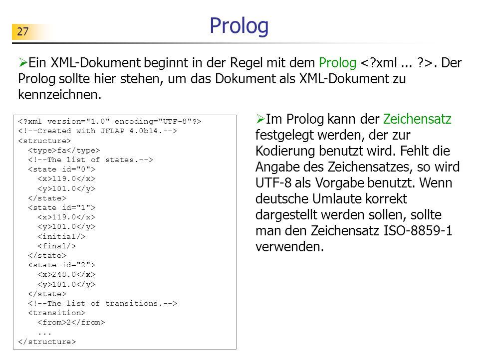 27 Prolog Ein XML-Dokument beginnt in der Regel mit dem Prolog. Der Prolog sollte hier stehen, um das Dokument als XML-Dokument zu kennzeichnen. fa 11