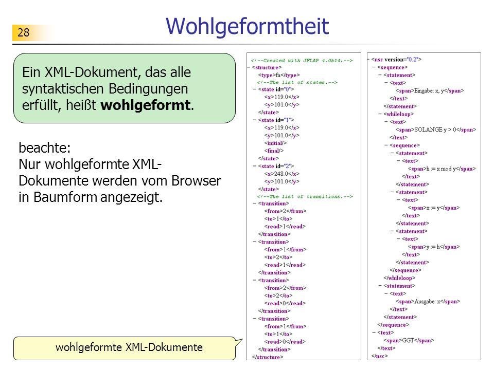 28 Wohlgeformtheit Ein XML-Dokument, das alle syntaktischen Bedingungen erfüllt, heißt wohlgeformt. wohlgeformte XML-Dokumente beachte: Nur wohlgeform