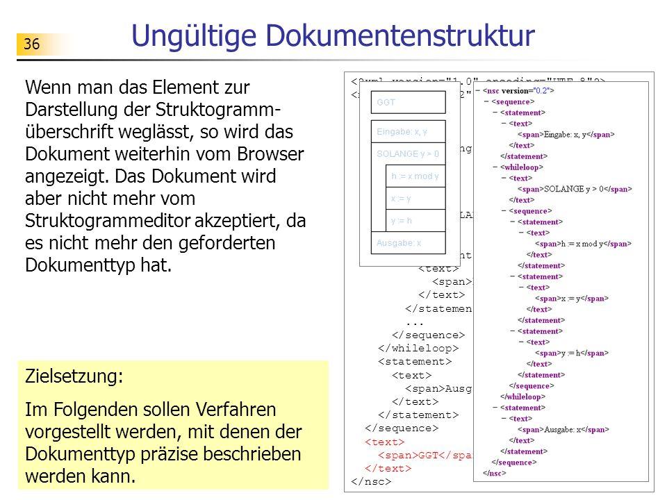 36 Ungültige Dokumentenstruktur Wenn man das Element zur Darstellung der Struktogramm- überschrift weglässt, so wird das Dokument weiterhin vom Browse