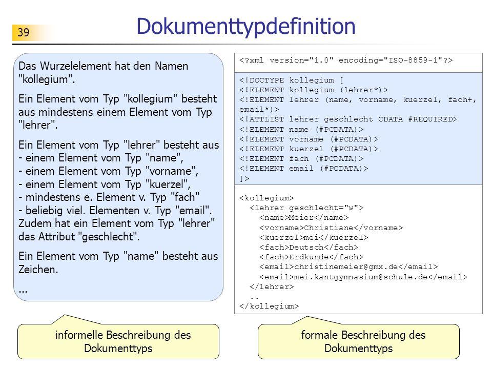 39 Dokumenttypdefinition <!DOCTYPE kollegium [ ]> Meier Christiane mei Deutsch Erdkunde christinemeier@gmx.de mei.kantgymnasium@schule.de.. Das Wurzel