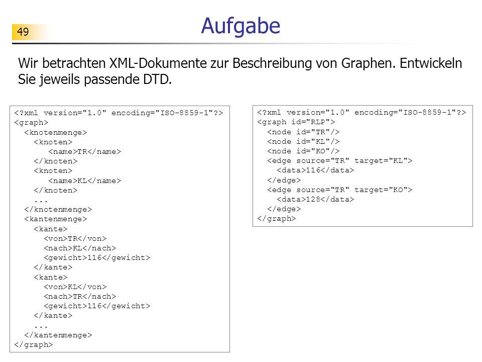 49 Aufgabe Wir betrachten XML-Dokumente zur Beschreibung von Graphen. Entwickeln Sie jeweils passende DTD. TR KL... TR KL 116 KL TR 116... 116 128
