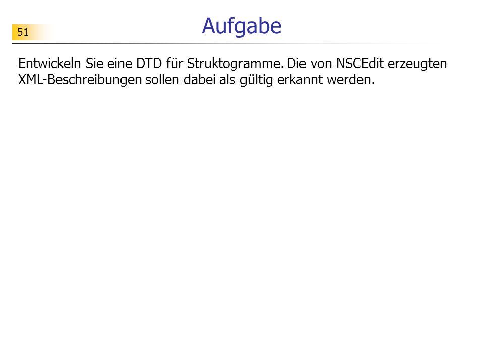 51 Aufgabe Entwickeln Sie eine DTD für Struktogramme. Die von NSCEdit erzeugten XML-Beschreibungen sollen dabei als gültig erkannt werden.