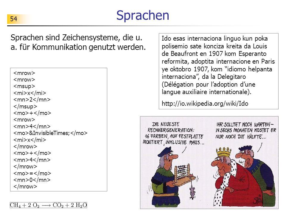 54 Sprachen Sprachen sind Zeichensysteme, die u. a. für Kommunikation genutzt werden. Ido esas internaciona linguo kun poka polisemio sate konciza kre
