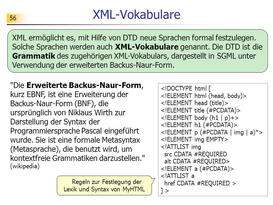 56 XML-Vokabulare ] > Regeln zur Festlegung der Lexik und Syntax von MyHTML XML ermöglicht es, mit Hilfe von DTD neue Sprachen formal festzulegen. Sol