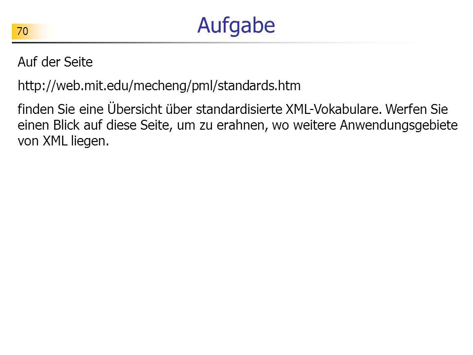 70 Aufgabe Auf der Seite http://web.mit.edu/mecheng/pml/standards.htm finden Sie eine Übersicht über standardisierte XML-Vokabulare. Werfen Sie einen