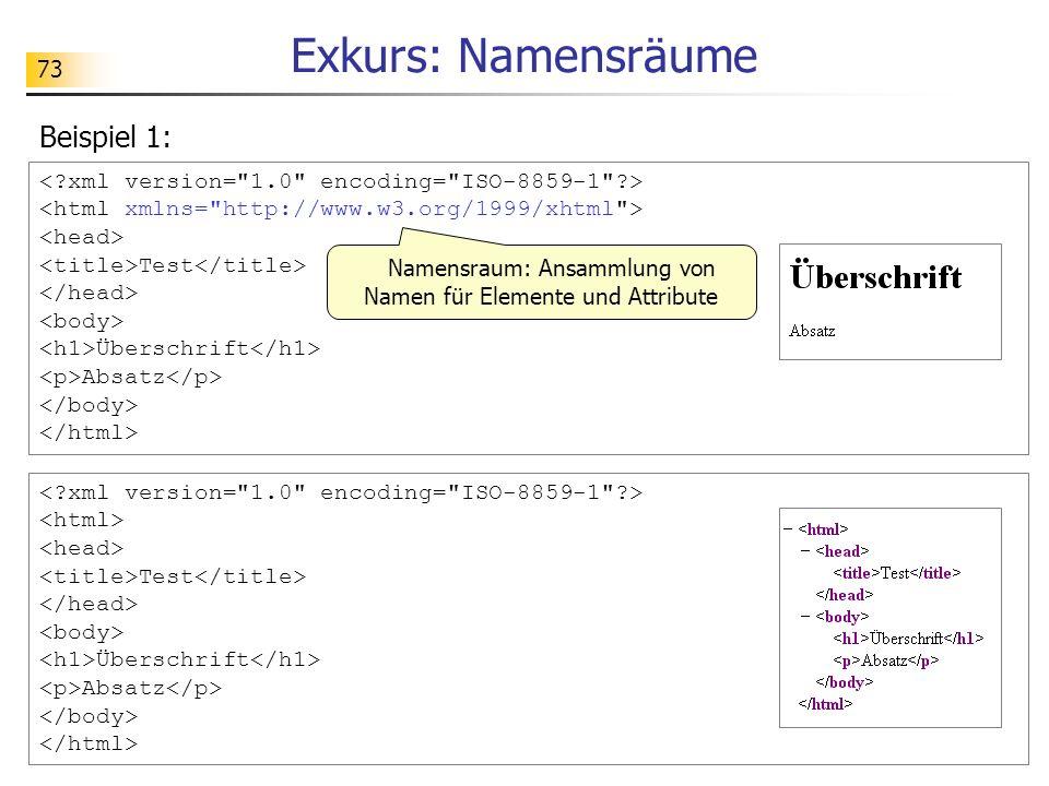 73 Exkurs: Namensräume Beispiel 1: Test Überschrift Absatz Test Überschrift Absatz Namensraum: Ansammlung von Namen für Elemente und Attribute