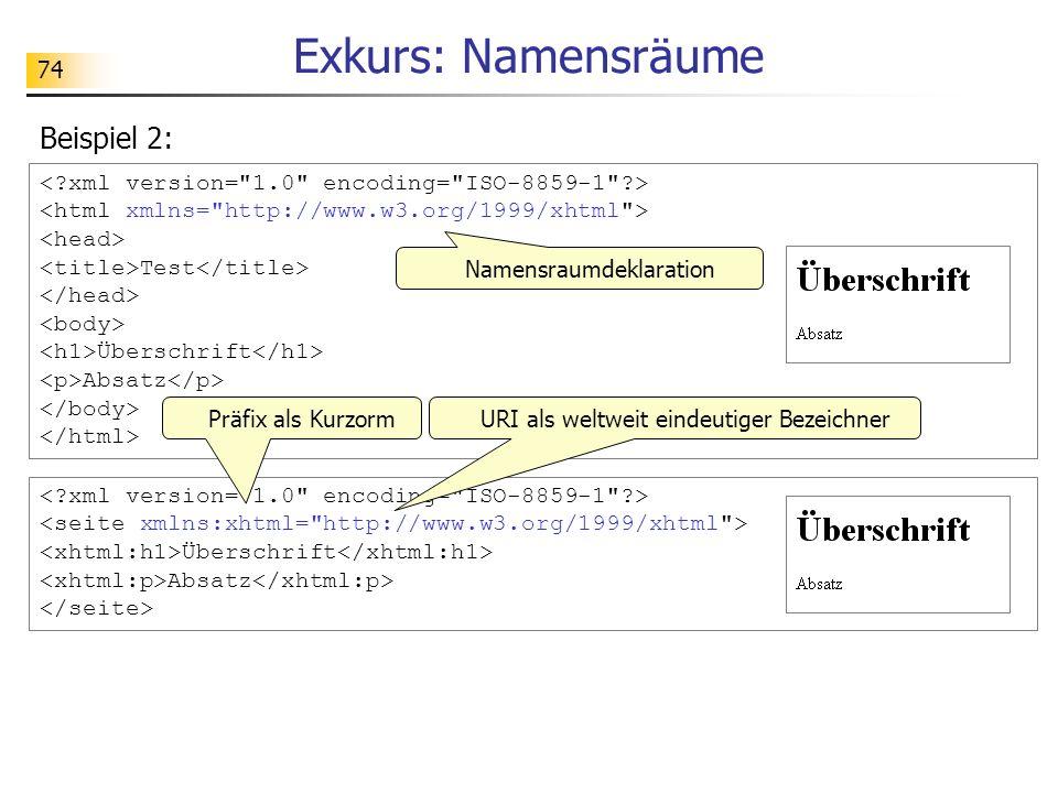 74 Exkurs: Namensräume Beispiel 2: Überschrift Absatz Test Überschrift Absatz Namensraumdeklaration URI als weltweit eindeutiger BezeichnerPräfix als