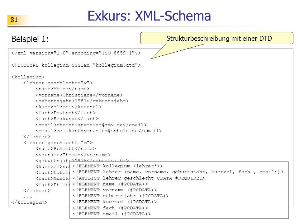 81 Exkurs: XML-Schema Meier Christiane 1981 mei Deutsch Erdkunde christianemeier@gmx.de mei.kantgymnasium@schule.de Schmitt Thomas 1975 sch Latein Mus
