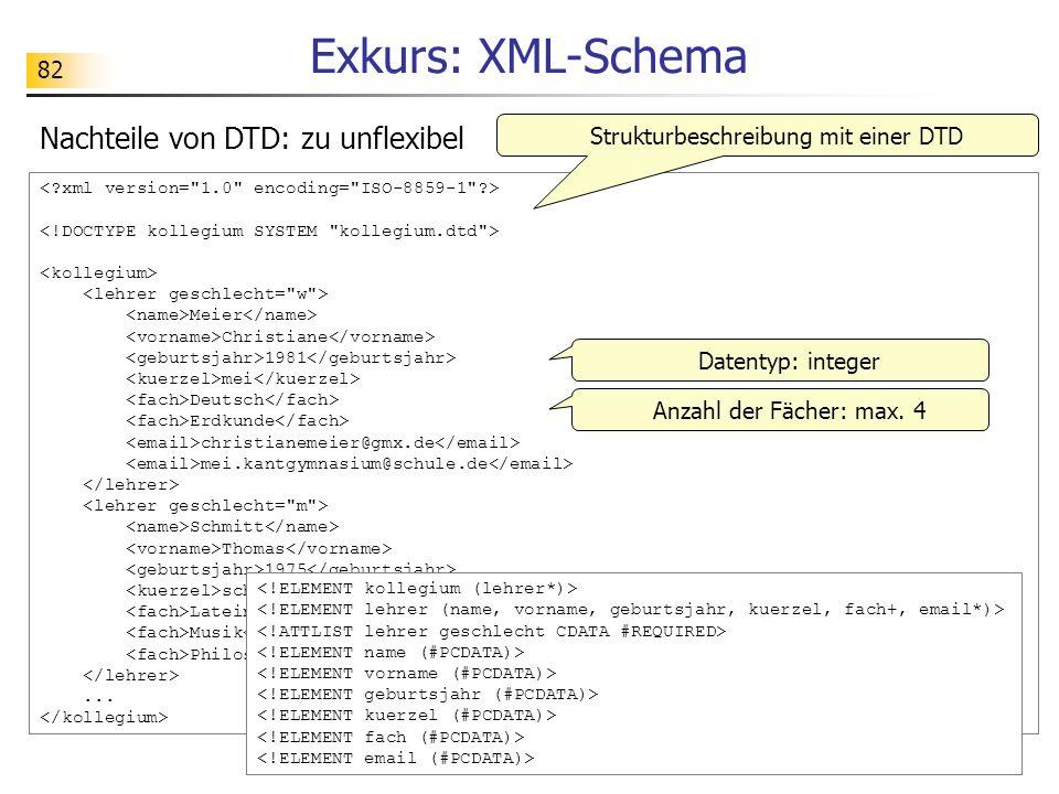 82 Exkurs: XML-Schema Meier Christiane 1981 mei Deutsch Erdkunde christianemeier@gmx.de mei.kantgymnasium@schule.de Schmitt Thomas 1975 sch Latein Mus