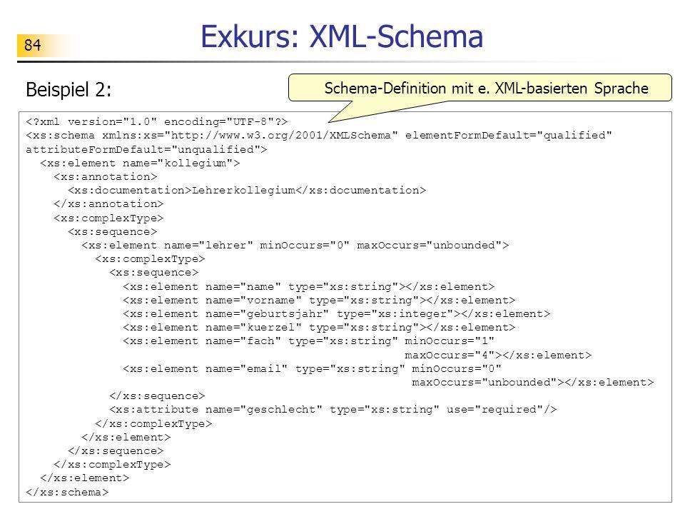 84 Exkurs: XML-Schema Lehrerkollegium <xs:element name=