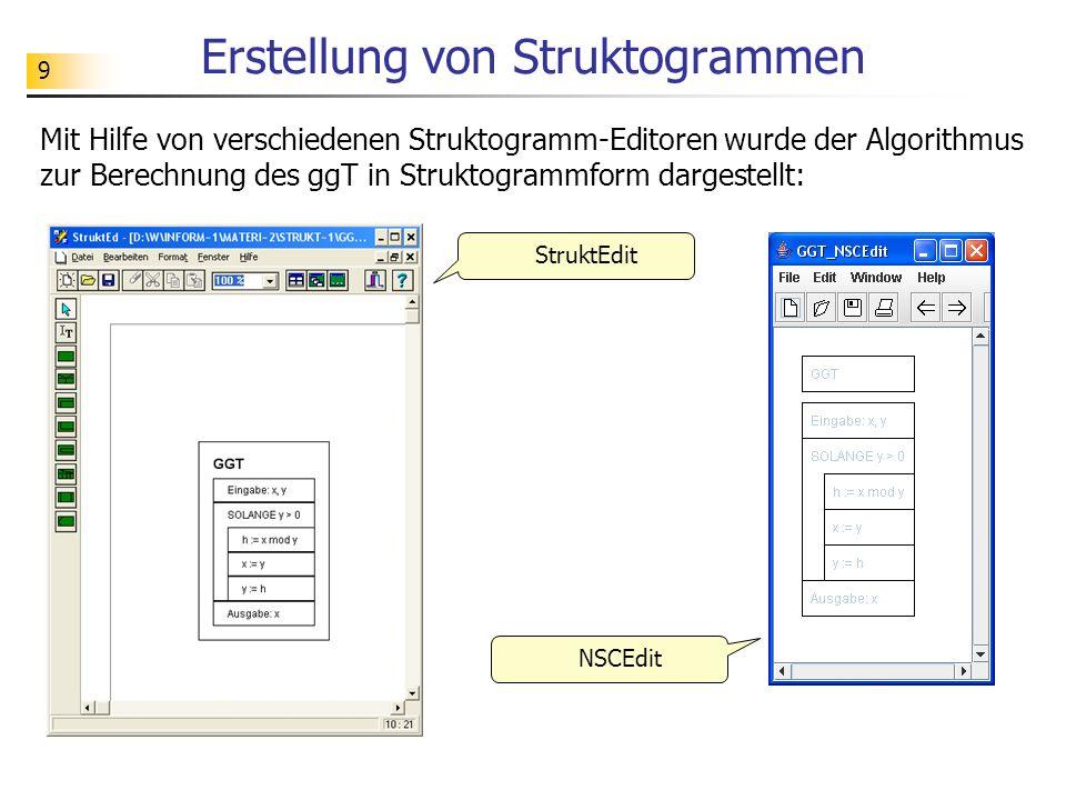 9 Erstellung von Struktogrammen Mit Hilfe von verschiedenen Struktogramm-Editoren wurde der Algorithmus zur Berechnung des ggT in Struktogrammform dar