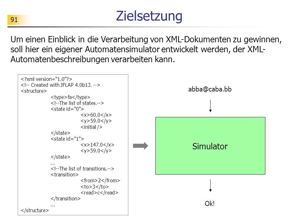 91 Zielsetzung Um einen Einblick in die Verarbeitung von XML-Dokumenten zu gewinnen, soll hier ein eigener Automatensimulator entwickelt werden, der X