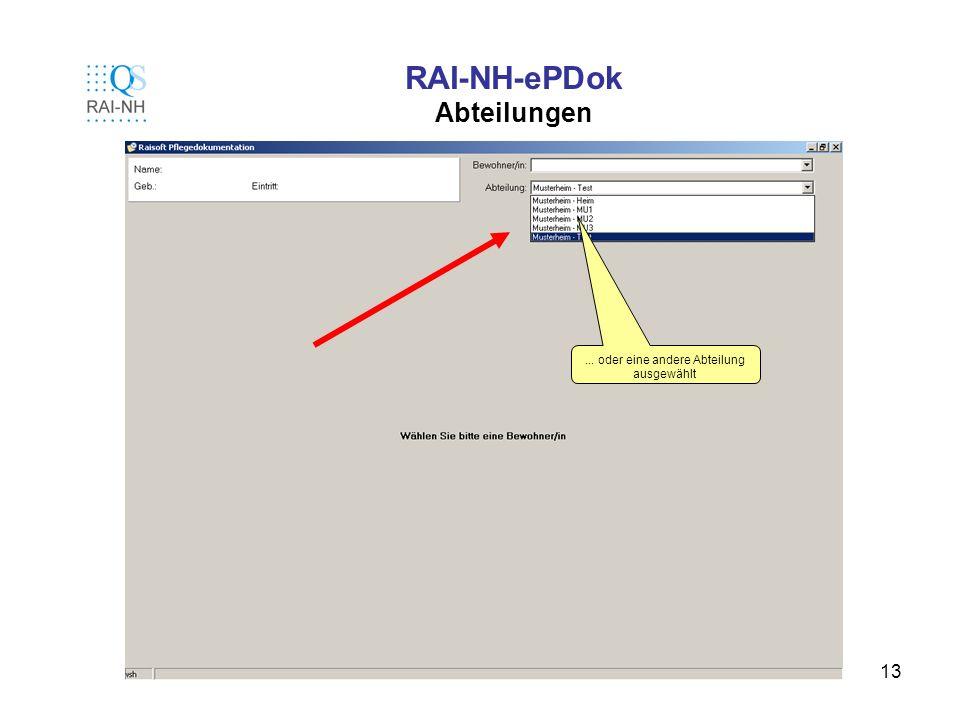 13 RAI-NH-ePDok Abteilungen... oder eine andere Abteilung ausgewählt