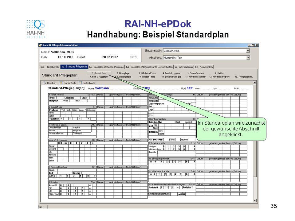 35 RAI-NH-ePDok Handhabung: Beispiel Standardplan Im Standardplan wird zunächst der gewünschte Abschnitt angeklickt..