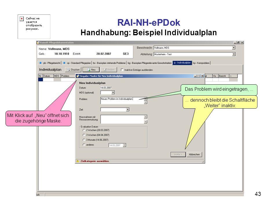 43 RAI-NH-ePDok Handhabung: Beispiel Individualplan Mit Klick auf Neu öffnet sich die zugehörige Maske. Das Problem wird eingetragen,...... dennoch bl