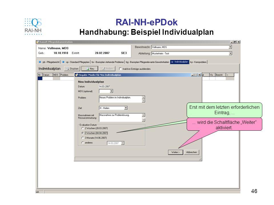 46 RAI-NH-ePDok Handhabung: Beispiel Individualplan Erst mit dem letzten erforderlichen Eintrag,...... wird die Schaltfläche Weiter aktiviert.