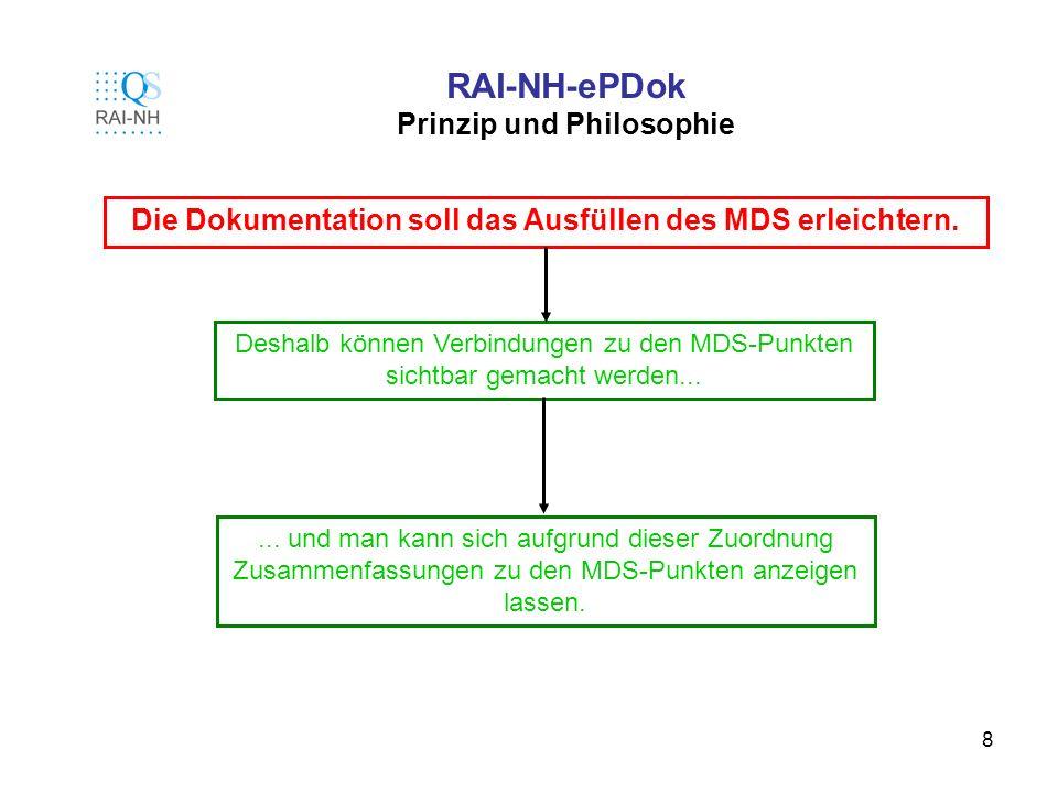 8 RAI-NH-ePDok Prinzip und Philosophie... und man kann sich aufgrund dieser Zuordnung Zusammenfassungen zu den MDS-Punkten anzeigen lassen. Die Dokume