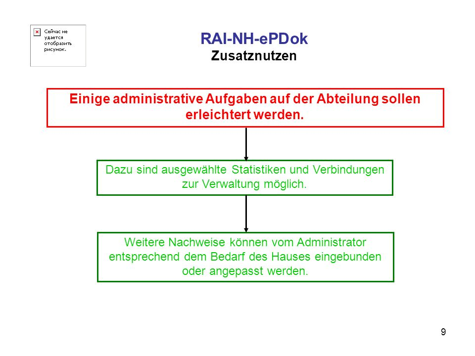 9 RAI-NH-ePDok Zusatznutzen Einige administrative Aufgaben auf der Abteilung sollen erleichtert werden. Dazu sind ausgewählte Statistiken und Verbindu