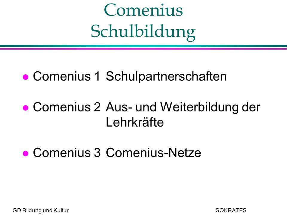GD Bildung und Kultur SOKRATES Comenius Schulbildung l Comenius 1Schulpartnerschaften l Comenius 2Aus- und Weiterbildung der Lehrkräfte l Comenius 3Comenius-Netze