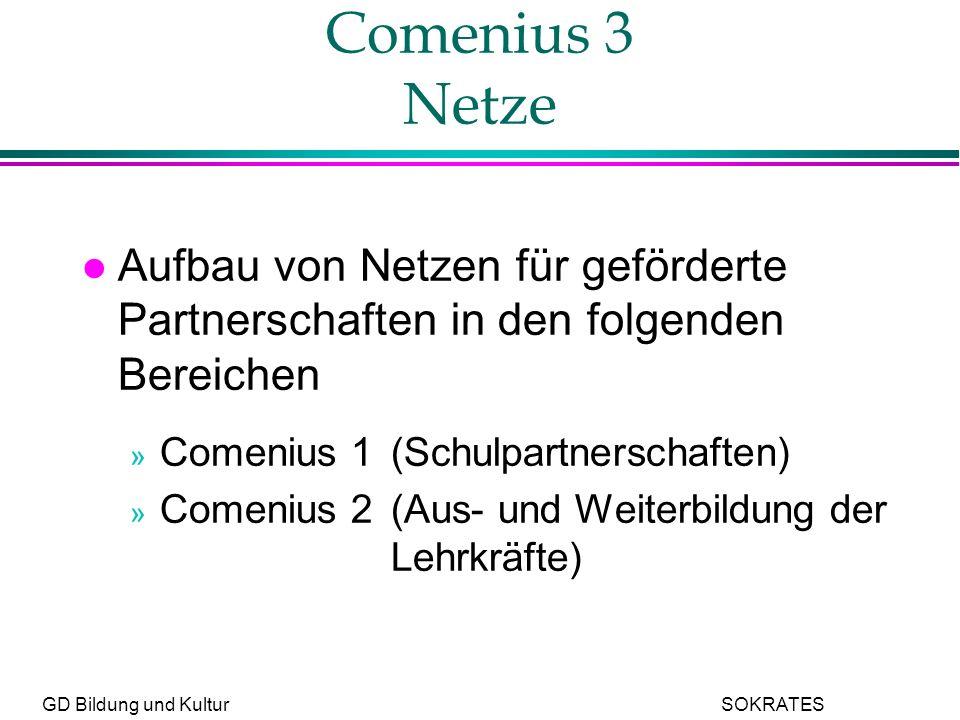 GD Bildung und Kultur SOKRATES Comenius 3 Netze l Aufbau von Netzen für geförderte Partnerschaften in den folgenden Bereichen » Comenius 1(Schulpartnerschaften) » Comenius 2(Aus- und Weiterbildung der Lehrkräfte)