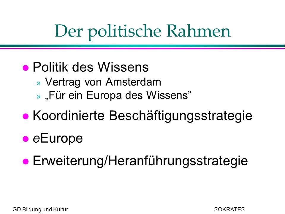 GD Bildung und Kultur SOKRATES Der politische Rahmen l Politik des Wissens » Vertrag von Amsterdam » Für ein Europa des Wissens l Koordinierte Beschäftigungsstrategie l eEurope l Erweiterung/Heranführungsstrategie
