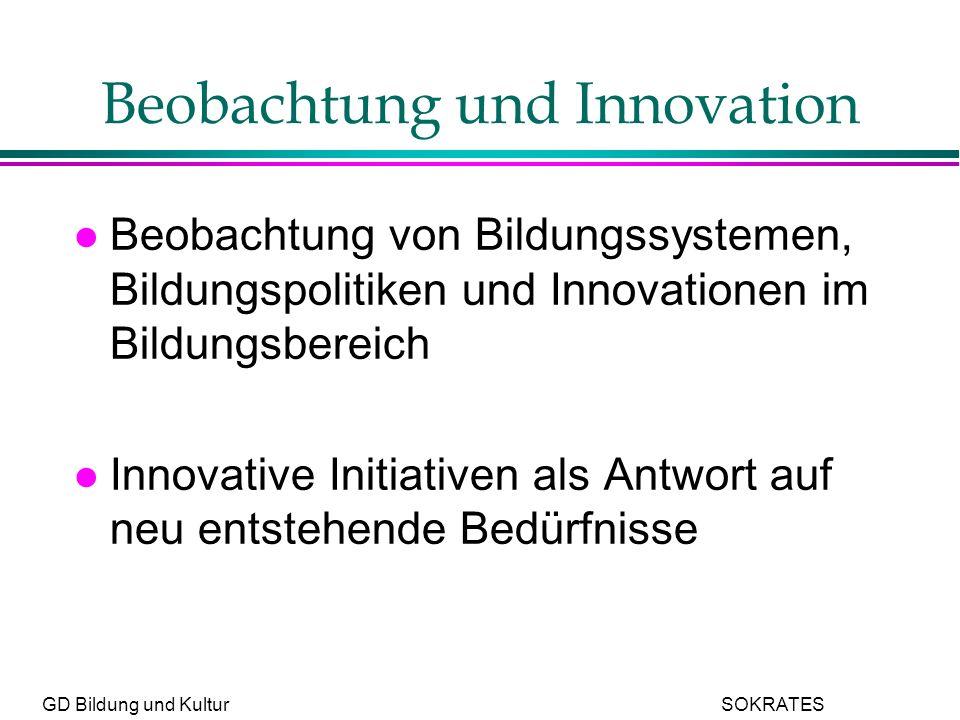 GD Bildung und Kultur SOKRATES Beobachtung und Innovation l Beobachtung von Bildungssystemen, Bildungspolitiken und Innovationen im Bildungsbereich l Innovative Initiativen als Antwort auf neu entstehende Bedürfnisse