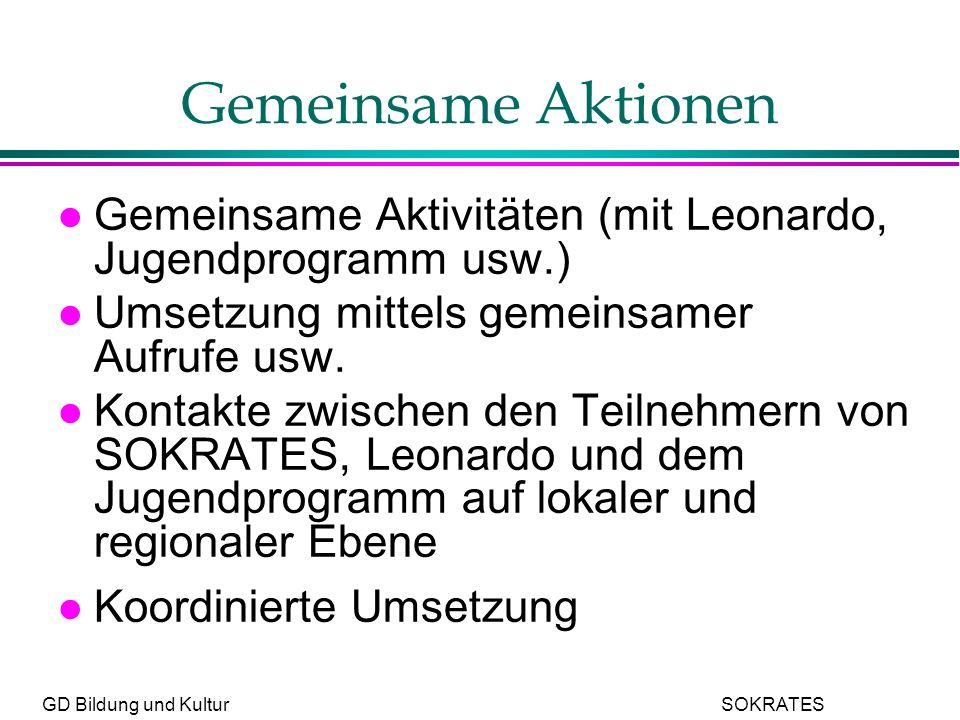 GD Bildung und Kultur SOKRATES Gemeinsame Aktionen l Gemeinsame Aktivitäten (mit Leonardo, Jugendprogramm usw.) l Umsetzung mittels gemeinsamer Aufrufe usw.