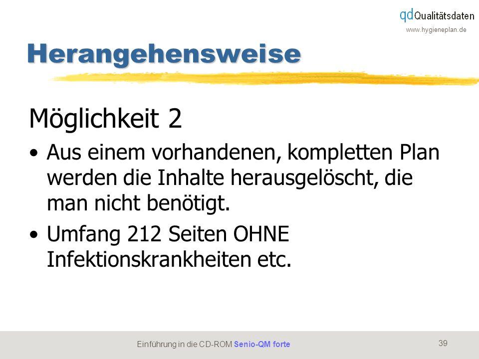www.hygieneplan.de 39 Einführung in die CD-ROM Senio-QM forte Herangehensweise Möglichkeit 2 Aus einem vorhandenen, kompletten Plan werden die Inhalte
