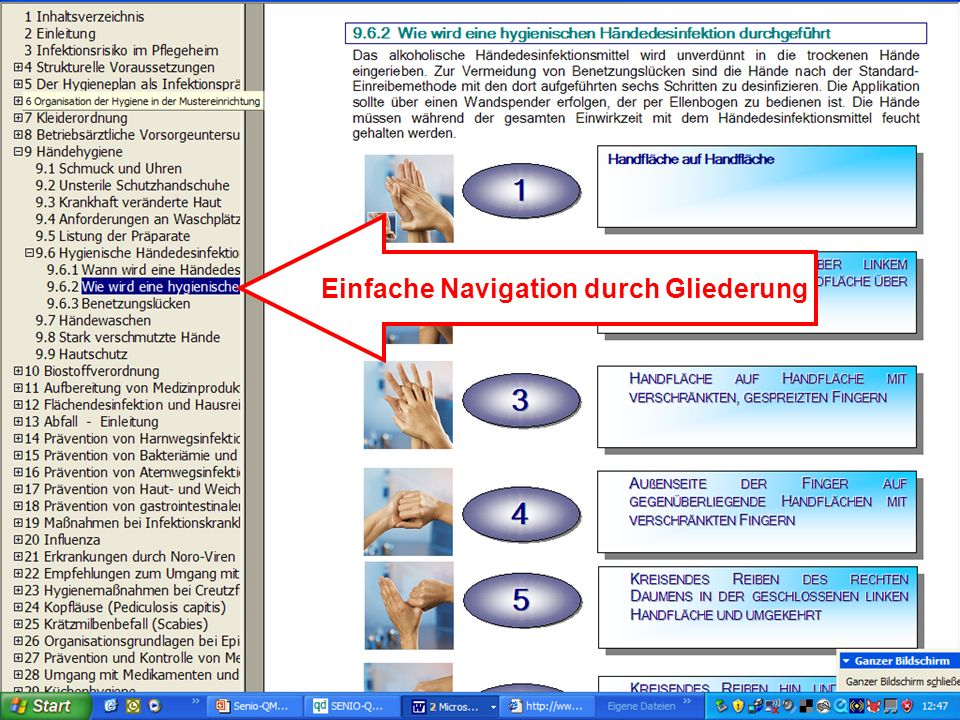 www.hygieneplan.de 41 Einführung in die CD-ROM Senio-QM forte Einfache Navigation durch Gliederung