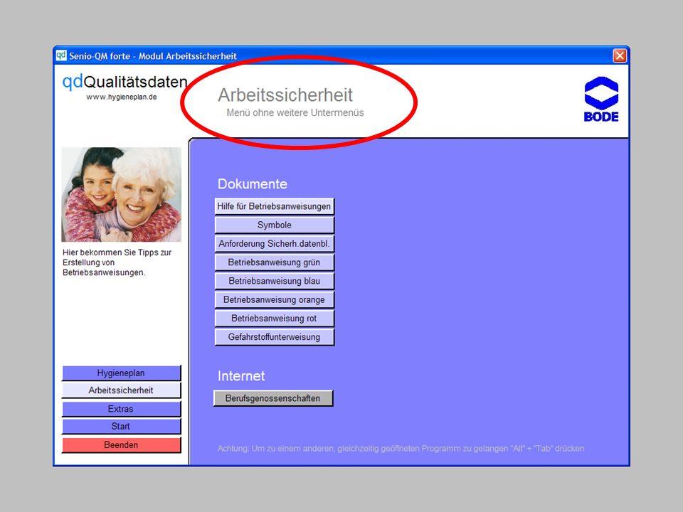 www.hygieneplan.de 42 Einführung in die CD-ROM Senio-QM forte